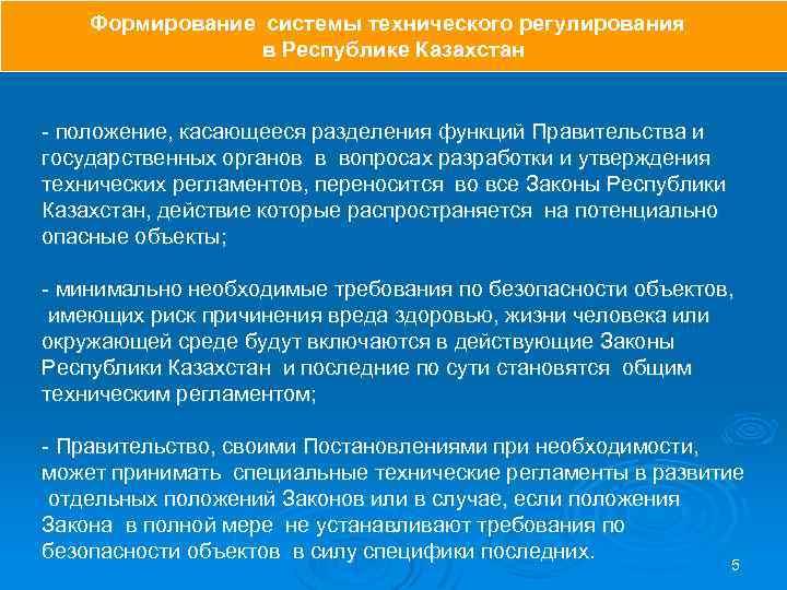 Формирование системы технического регулирования в Республике Казахстан - положение, касающееся разделения функций Правительства и