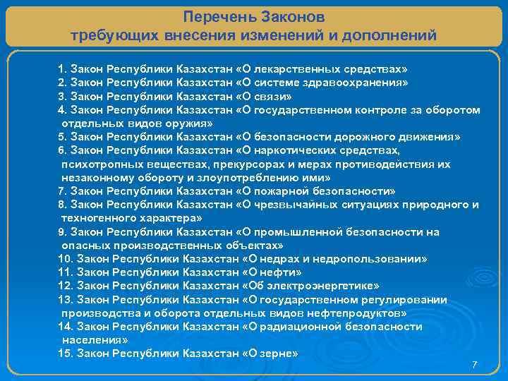Перечень Законов требующих внесения изменений и дополнений 1. Закон Республики Казахстан «О лекарственных средствах»