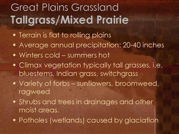 Great Plains Grassland Tallgrass/Mixed Prairie • • Terrain is flat to rolling plains Average