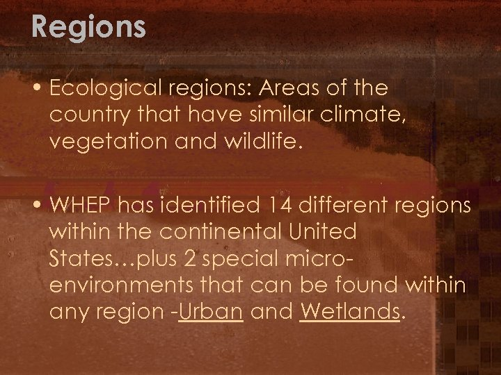 Regions • Ecological regions: Areas of the country that have similar climate, vegetation and