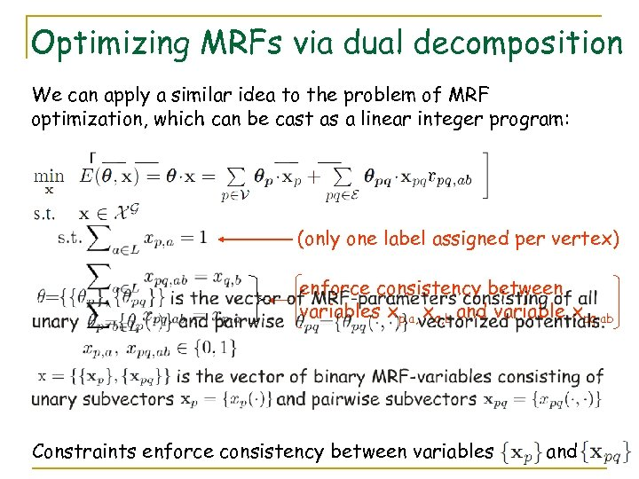 Optimizing MRFs via dual decomposition We can apply a similar idea to the problem