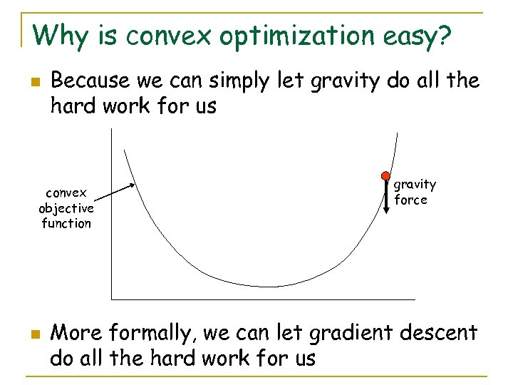 Why is convex optimization easy? n Because we can simply let gravity do all