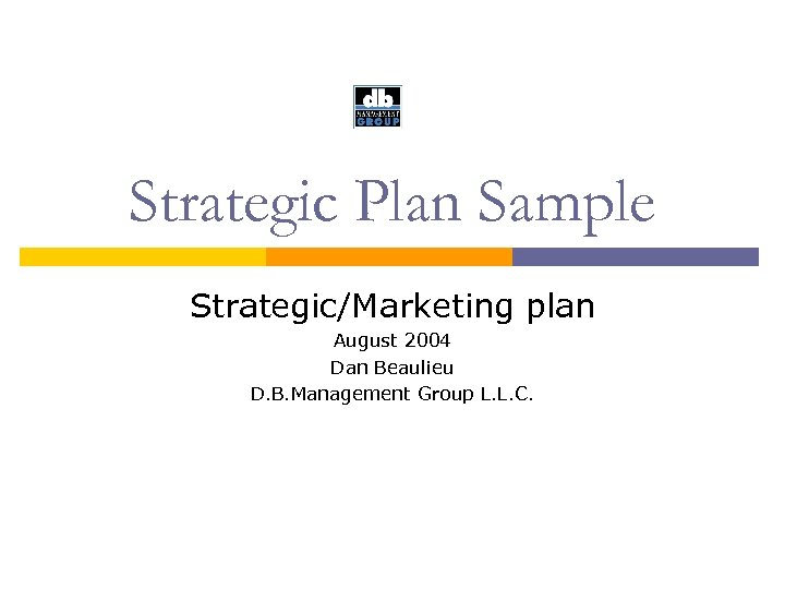 Strategic Plan Sample Strategic/Marketing plan August 2004 Dan Beaulieu D. B. Management Group L.