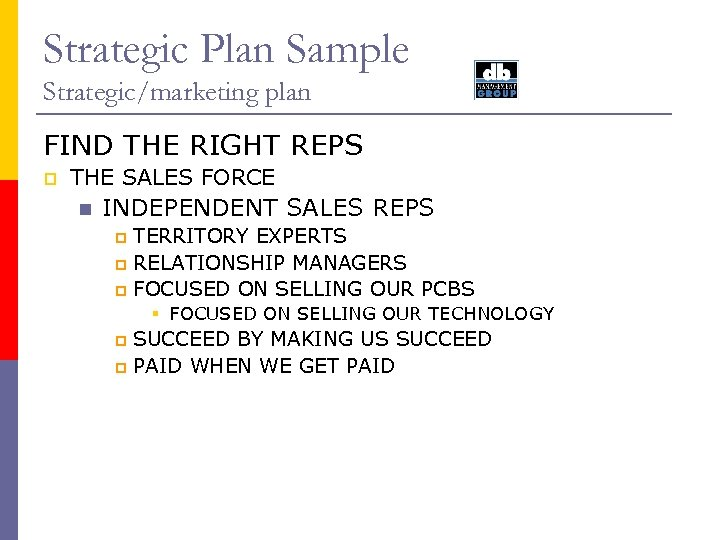 Strategic Plan Sample Strategic/marketing plan FIND THE RIGHT REPS p THE SALES FORCE n