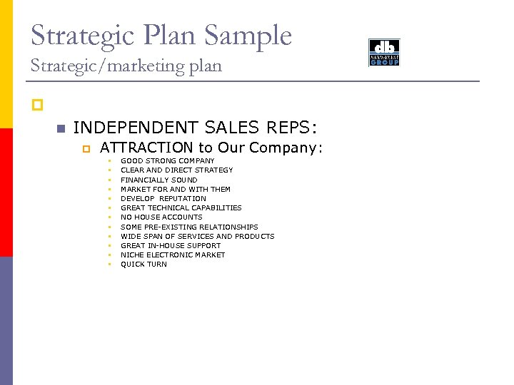 Strategic Plan Sample Strategic/marketing plan p n INDEPENDENT SALES REPS: p ATTRACTION to Our