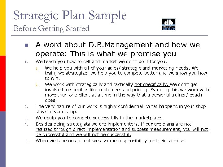 Strategic Plan Sample Before Getting Started n 1. 2. 3. 4. 5. A word