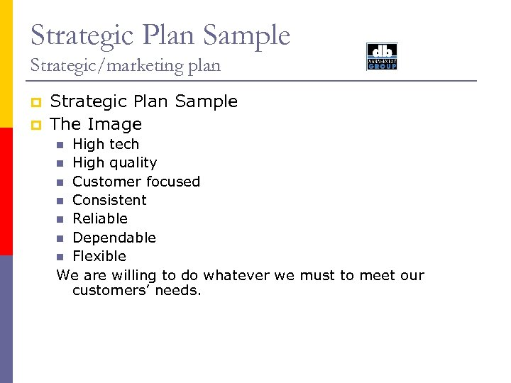 Strategic Plan Sample Strategic/marketing plan p p Strategic Plan Sample The Image High tech