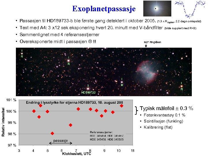 Exoplanetpassasje • • Passasjen til HD 189733 -b ble første gang detektert i oktober