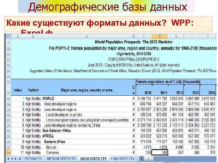 Демографические базы данных Какие существуют форматы данных? WPP: Excel ф.