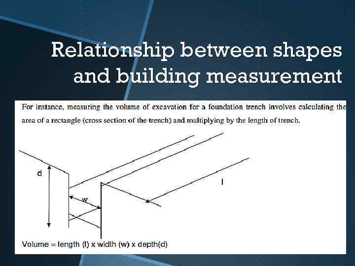 Relationship between shapes and building measurement