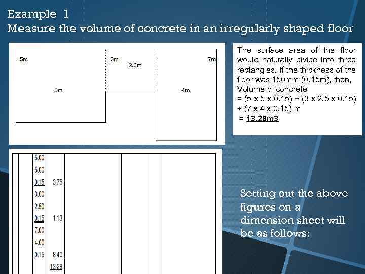 Example 1 Measure the volume of concrete in an irregularly shaped floor The surface