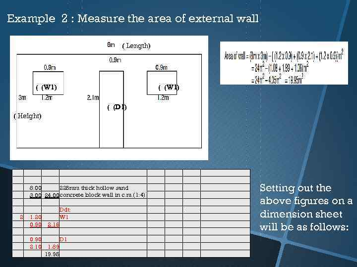 Example 2 : Measure the area of external wall ( Length) ( (W 1)