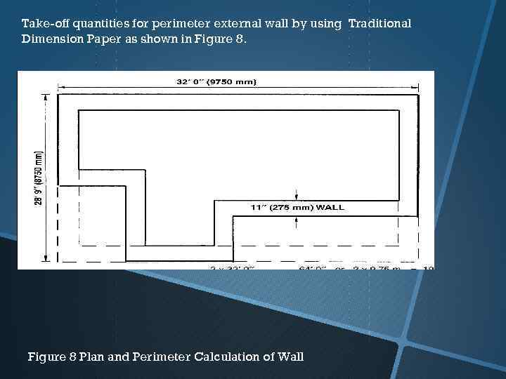 Take-off quantities for perimeter external wall by using Traditional Dimension Paper as shown in