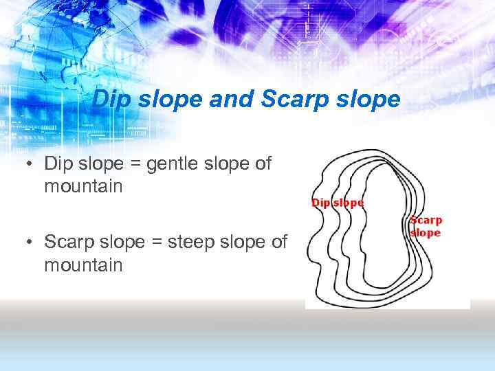 Dip slope and Scarp slope • Dip slope = gentle slope of mountain •