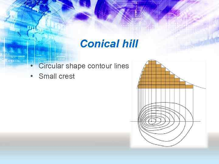 Conical hill • Circular shape contour lines • Small crest