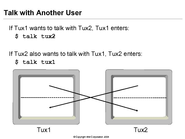 Talk with Another User If Tux 1 wants to talk with Tux 2, Tux