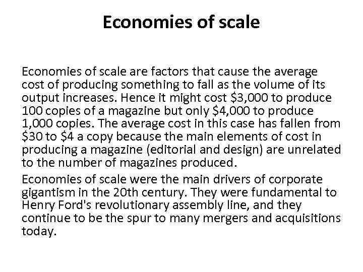 factors of economies of scale