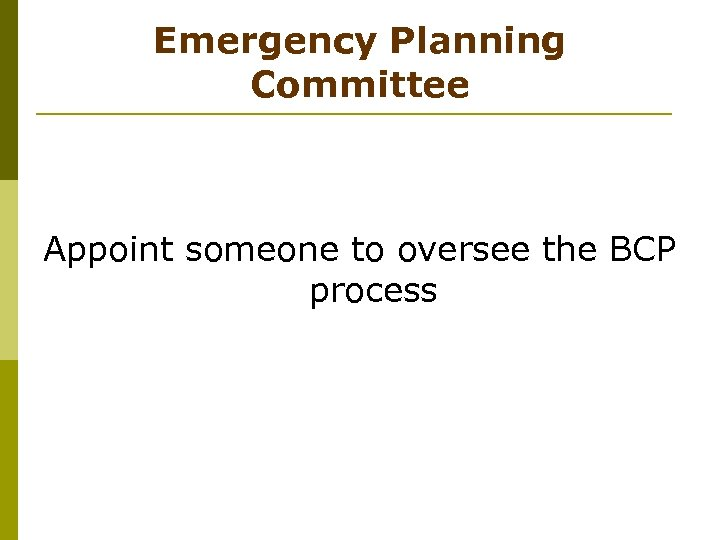 Emergency Planning Committee Appoint someone to oversee the BCP process