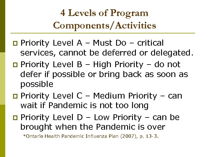 4 Levels of Program Components/Activities Priority Level A – Must Do – critical services,