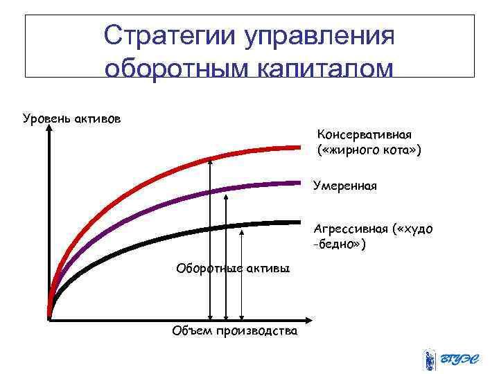 Стратегии управления оборотным капиталом Уровень активов Консервативная ( «жирного кота» ) Умеренная Агрессивная (