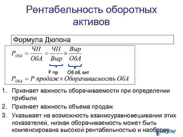 Рентабельность оборотных активов Формула Дюпона Р пр Об об. акт 1. Признает важность оборачиваемости