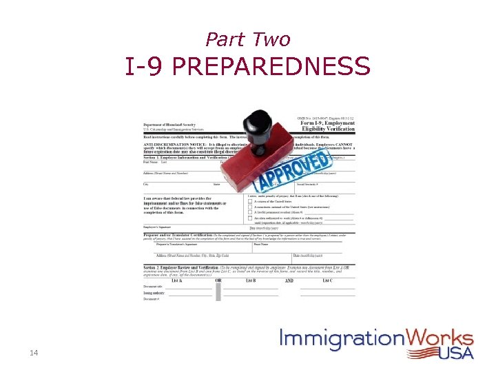 Part Two I-9 PREPAREDNESS 14