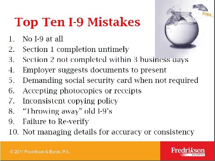 Ten 1 -9 mistakes 21