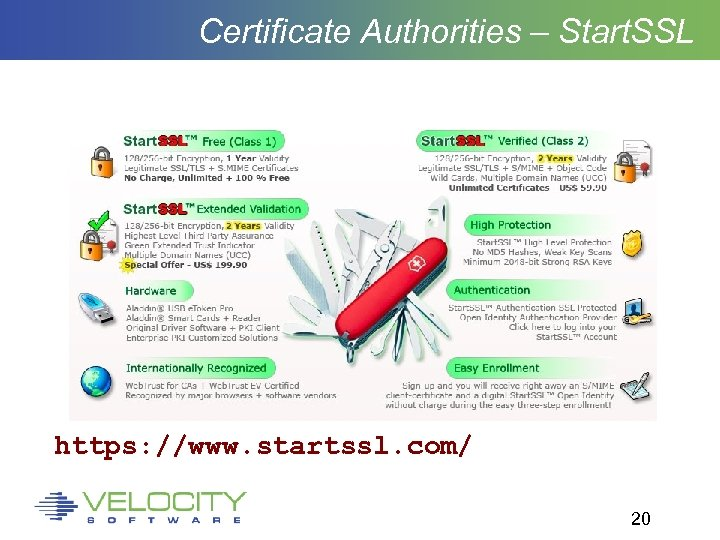 Certificate Authorities – Start. SSL https: //www. startssl. com/ 20