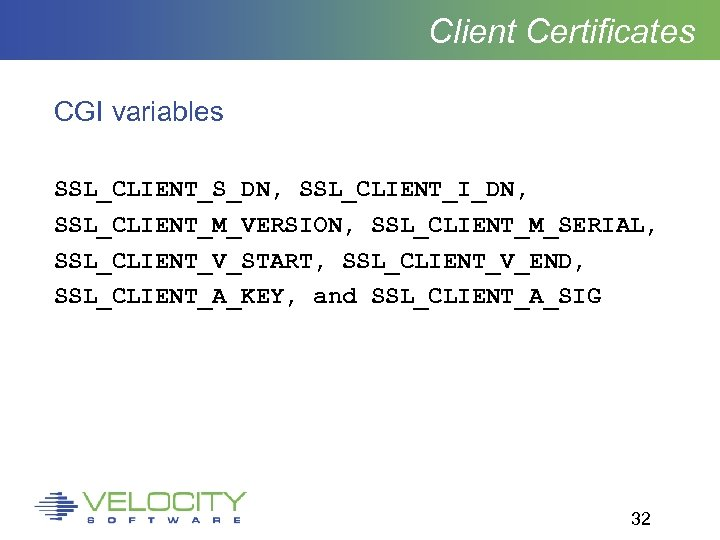 Client Certificates CGI variables SSL_CLIENT_S_DN, SSL_CLIENT_I_DN, SSL_CLIENT_M_VERSION, SSL_CLIENT_M_SERIAL, SSL_CLIENT_V_START, SSL_CLIENT_V_END, SSL_CLIENT_A_KEY, and SSL_CLIENT_A_SIG 32