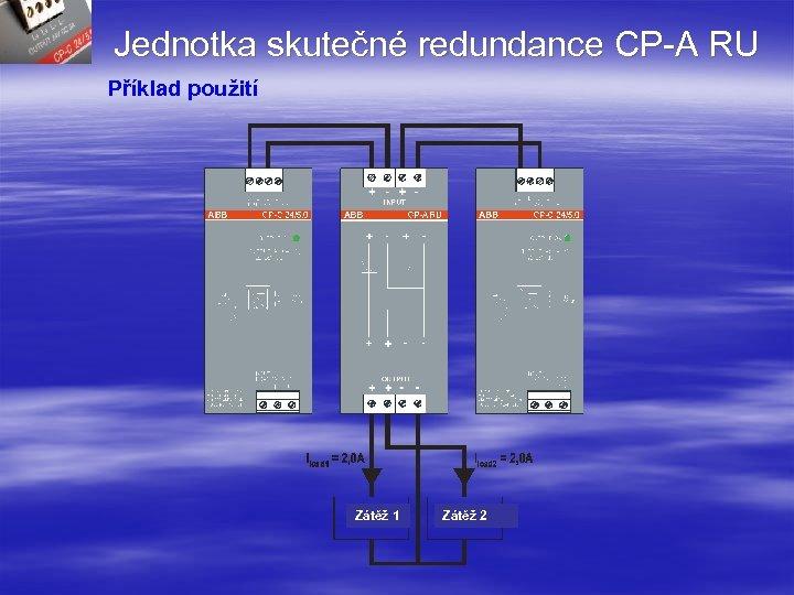 Jednotka skutečné redundance CP-A RU Příklad použití Zátěž 1 Zátěž 2