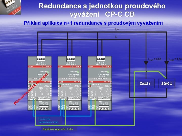 Redundance s jednotkou proudového vyvážení CP-C CB Příklad aplikace n+1 redundance s proudovým vyvážením