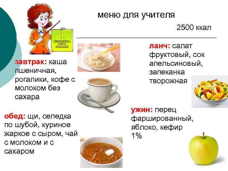 меню для учителя 2500 ккал завтрак: каша пшеничная, рогалики, кофе с молоком без сахара