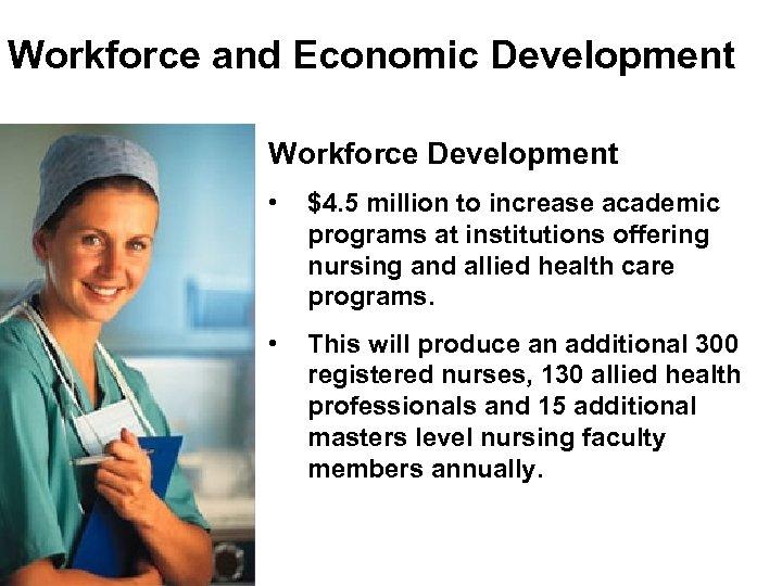 Workforce and Economic Development Workforce Development • $4. 5 million to increase academic programs