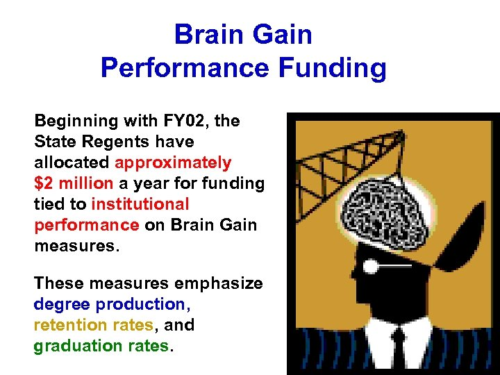 Brain Gain Performance Funding Beginning with FY 02, the State Regents have allocated approximately
