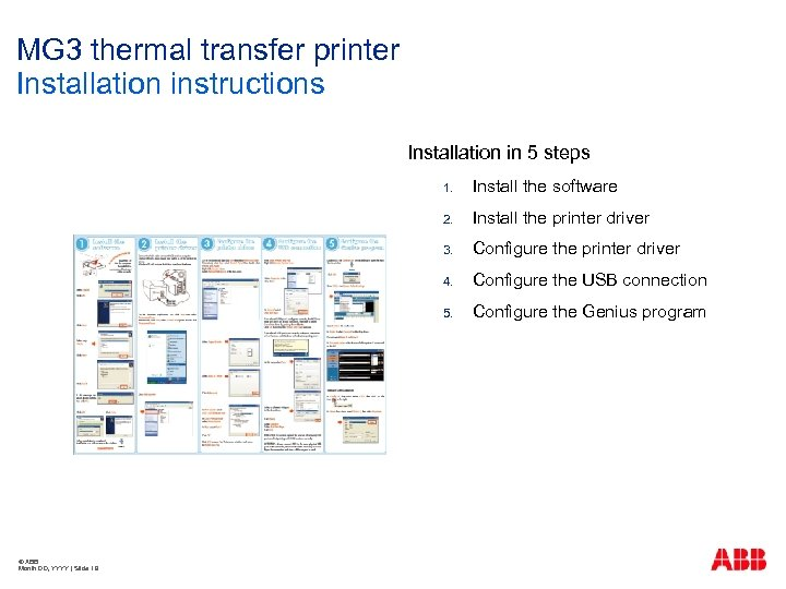MG 3 thermal transfer printer Installation instructions Installation in 5 steps 1. 2. Configure