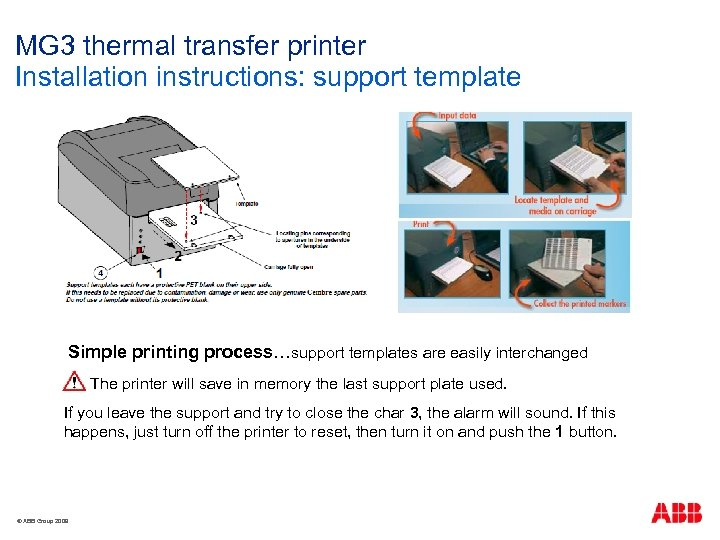 MG 3 thermal transfer printer Installation instructions: support template Simple printing process…support templates are