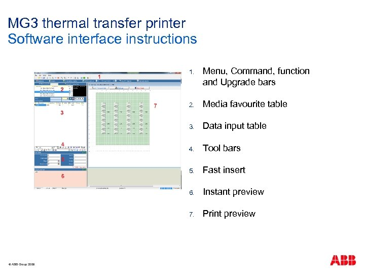 MG 3 thermal transfer printer Software interface instructions 1. 2. Media favourite table 3.