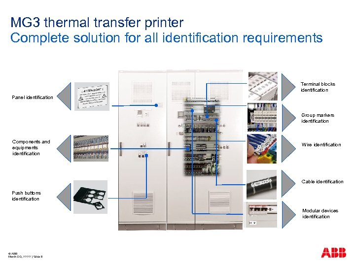 MG 3 thermal transfer printer Complete solution for all identification requirements Terminal blocks identification