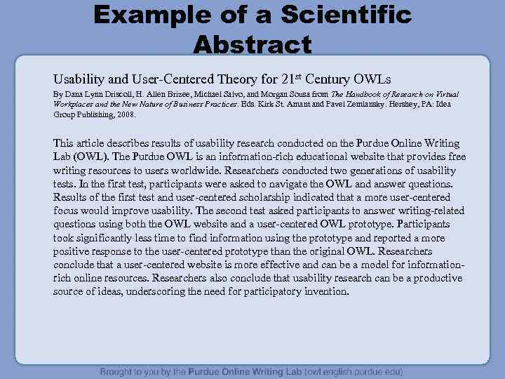 Example of a Scientific Abstract Usability and User-Centered Theory for 21 st Century OWLs