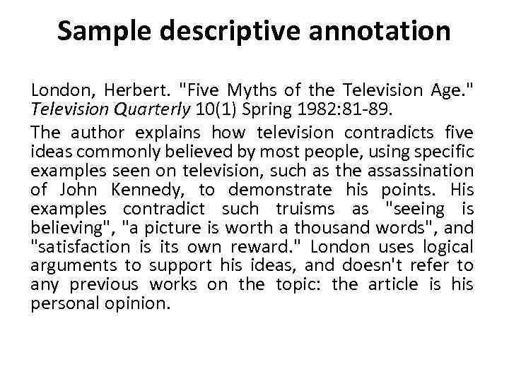 Sample descriptive annotation London, Herbert.