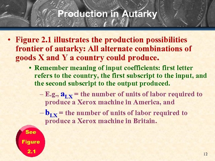 Production in Autarky • Figure 2. 1 illustrates the production possibilities frontier of autarky: