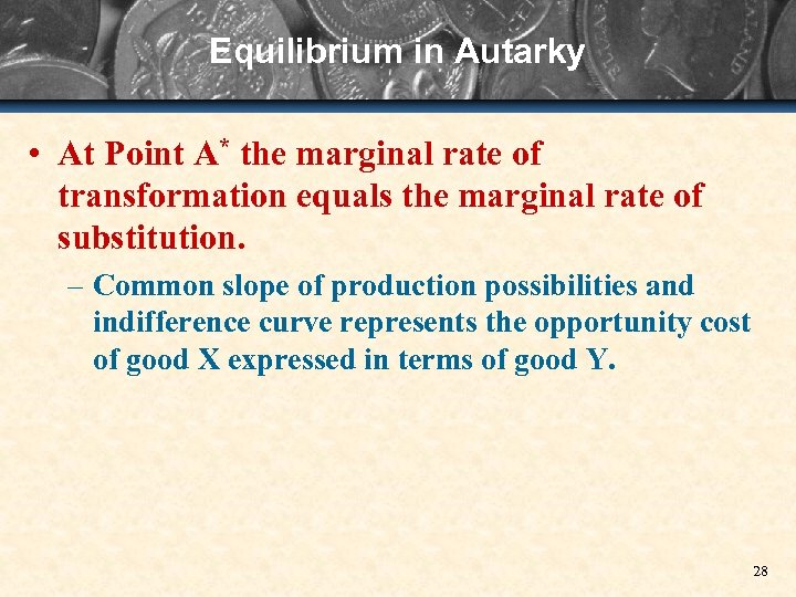 Equilibrium in Autarky • At Point A* the marginal rate of transformation equals the