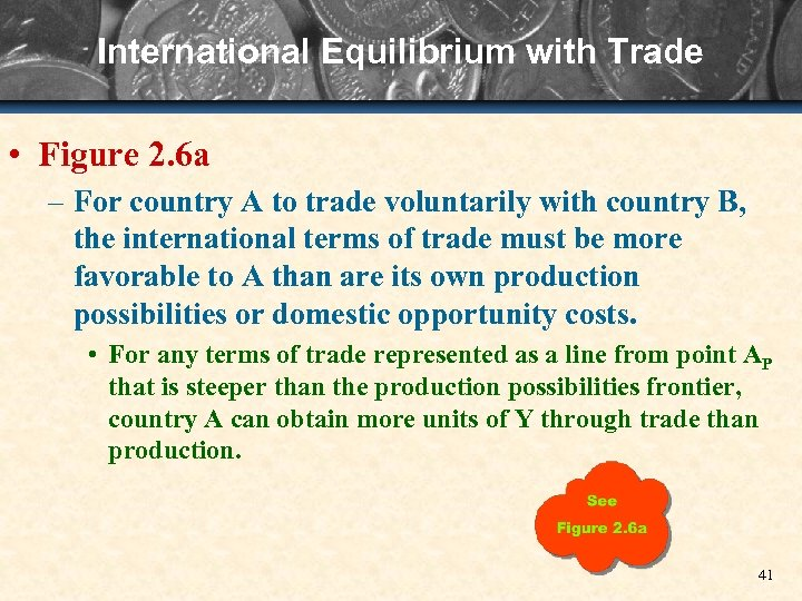 International Equilibrium with Trade • Figure 2. 6 a – For country A to