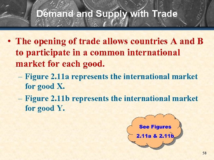 Demand Supply with Trade • The opening of trade allows countries A and B