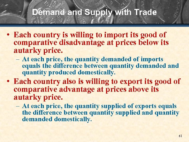 Demand Supply with Trade • Each country is willing to import its good of