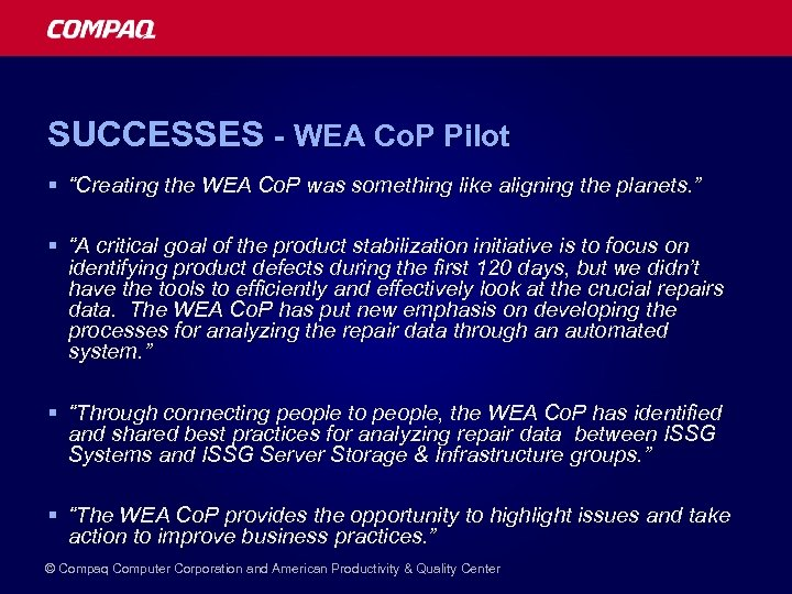 "SUCCESSES - WEA Co. P Pilot § ""Creating the WEA Co. P was something"