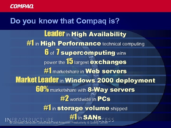 Do you know that Compaq is? Leader in High Availability #1 in High Performance