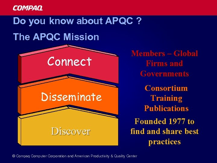Do you know about APQC ? The APQC Mission Connect Disseminate Discover Members –