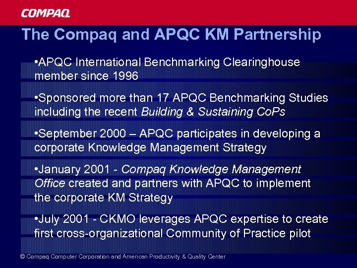 The Compaq and APQC KM Partnership • APQC International Benchmarking Clearinghouse member since 1996