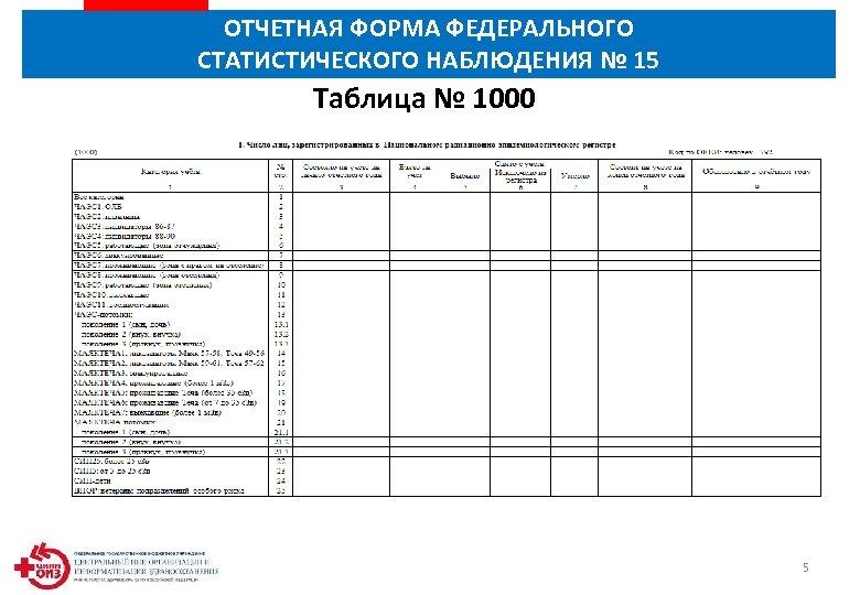 ОТЧЕТНАЯ ФОРМА ФЕДЕРАЛЬНОГО СТАТИСТИЧЕСКОГО НАБЛЮДЕНИЯ № 15 Таблица № 1000 5